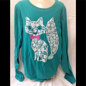 Girl's size Large tee w/ lace cat